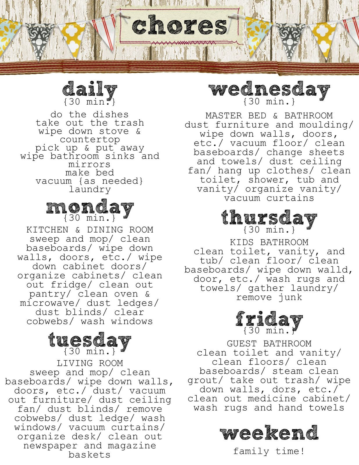 Housekeeping | Daily chore list, Charts and House