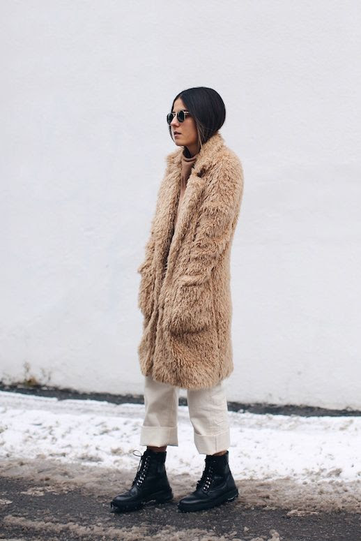 Le Fashion Blog Neutral Teddy Bear Coat Off White Jeans Black Combat Boots Via The Fashion Medley