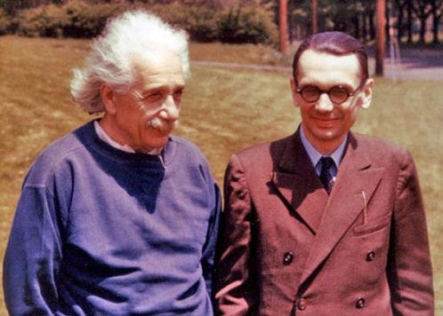 """El genial Albert Einstein, quien intentó conocer la """"la mente de Dios"""", junto al matemático austriaco Kurt Gödel."""