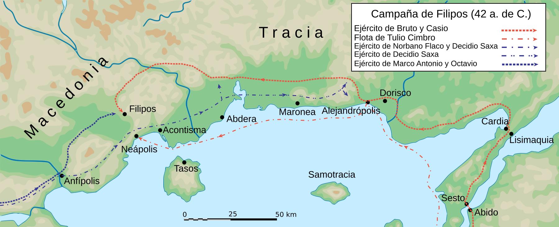 Mapa campaña Filipos 42 BC-es.svg