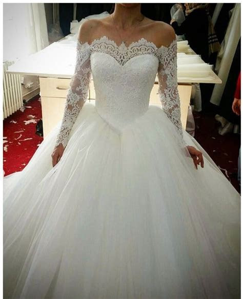 Off Shoulder Long Sleeves Lace Wedding Dress,Lace Bridal
