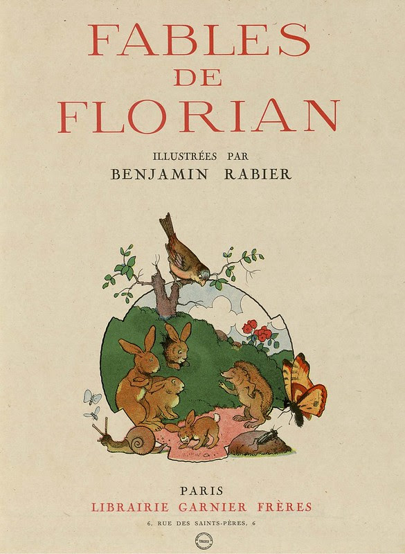 title page / frontispiece to Rabier's children's fable book : happy animals image + title text