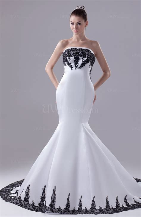 White Modern Garden Strapless Sleeveless Satin Appliques