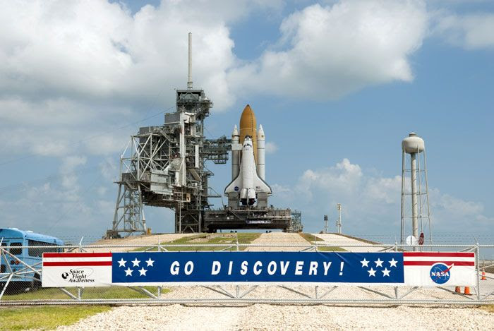 Space shuttle DISCOVERY sits on her launcher platform at LC-39A on September 21, 2010...beginning preparations for her November mission, STS-133.