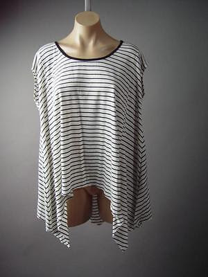 Striped-Handkerchief-Hem-Oversized-Loose-Trapeze-Tee-Top-145-mv-Blouse-M-L-XL