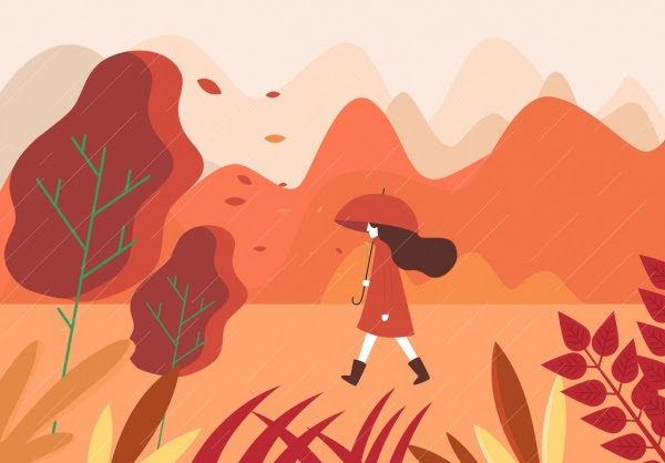 Sonbahar Boyama Yürüyen Kadın Yağmur Simgeleri Tasarım Karikatür