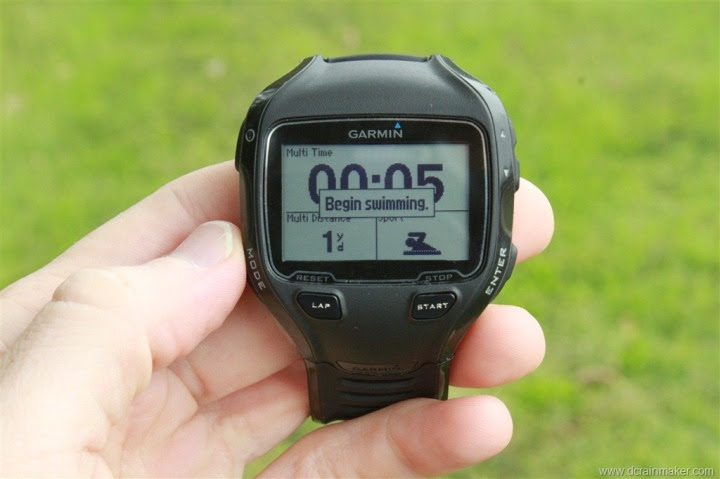 Garmin FR910XT Multisport Mode - Begin Swimming