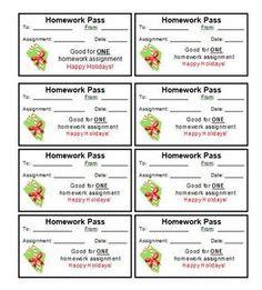 FREE Christmas Homework Passes   Classroom Ideas/ Inspirations ...