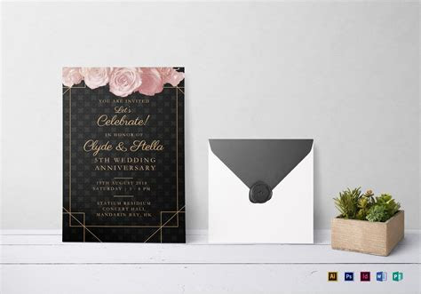 Elegant Wedding Anniversary Invitation Design Template in