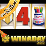 One-of-a-Kind WinADay Casino Celebrates 4th Birthday with Casino Bonuses and New Casino Game