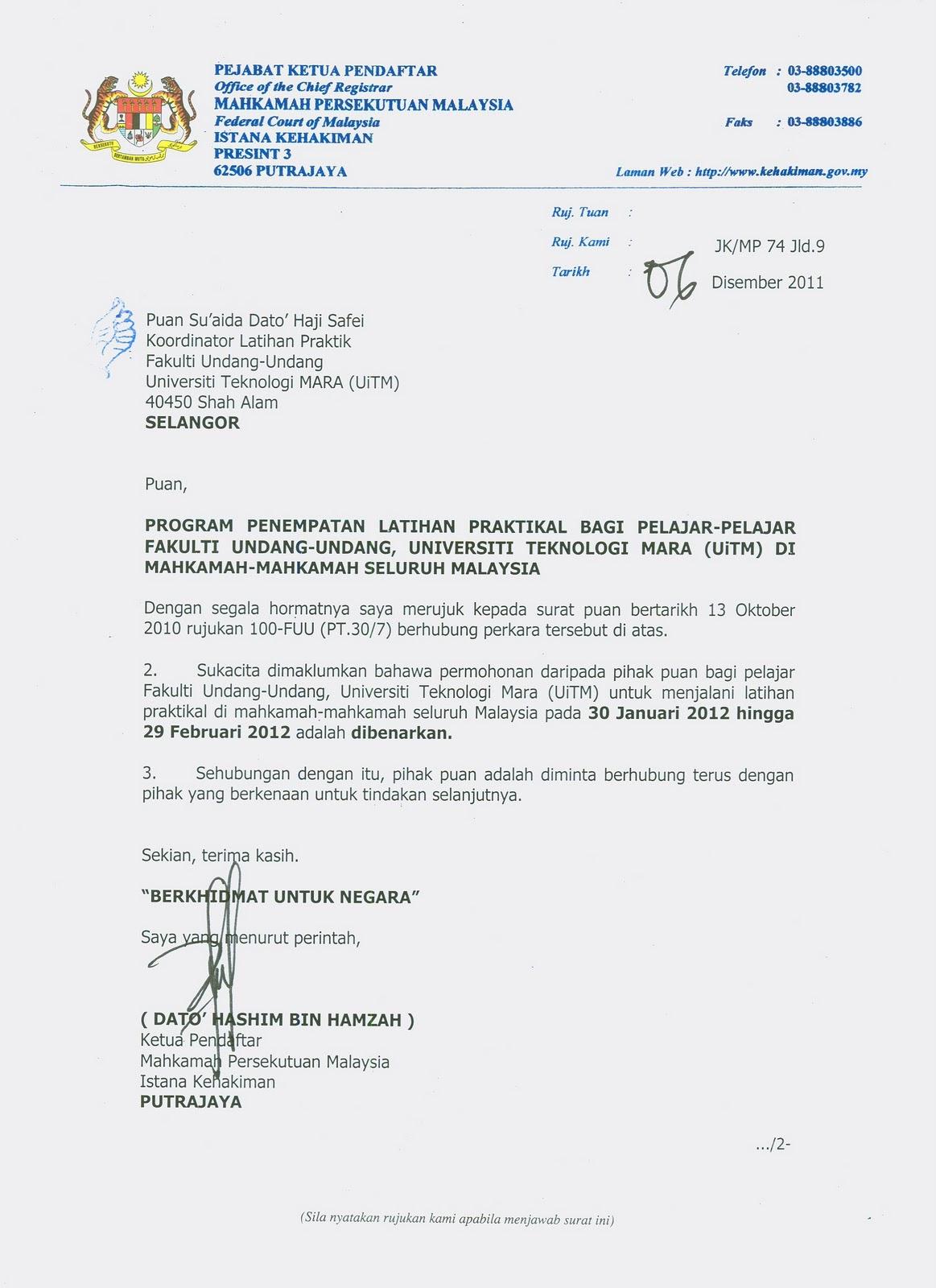 contoh surat rasmi permohonan kebenaran lawatan rasmi ri
