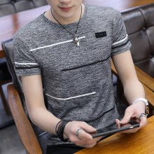 Korean Short Sleeve Men  Polyester Summer Cool  Male Slim Casual Boys Tee Shirt