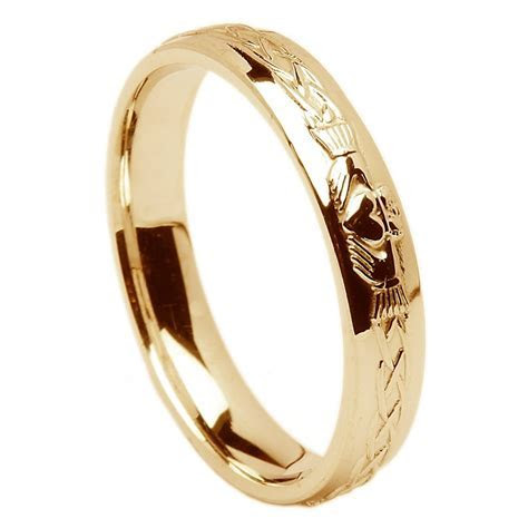 18k Yellow Gold Ladies Claddagh Celtic Wedding Ring 4.5mm
