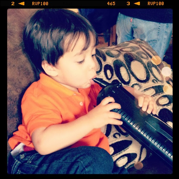 O playing our melodica