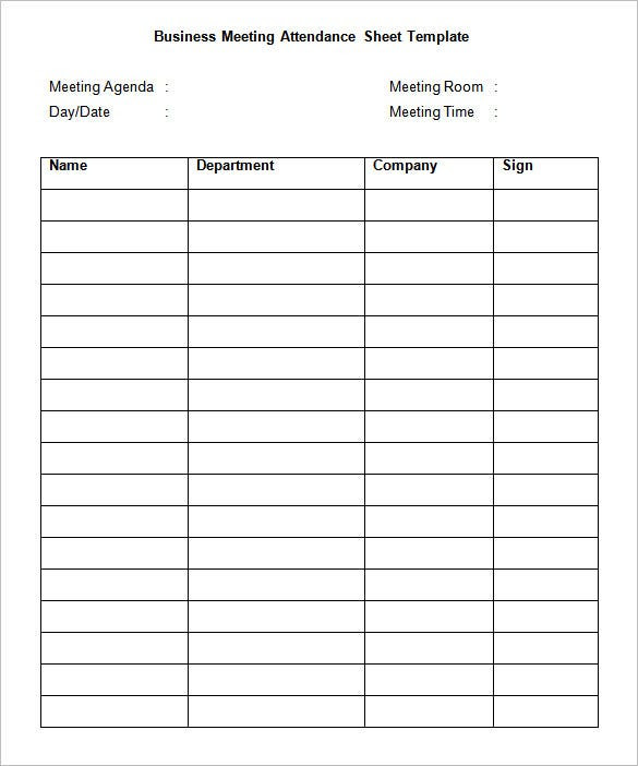 21+ Sign In Sheet Templates – Free Word, Excel, PDF Documents ...
