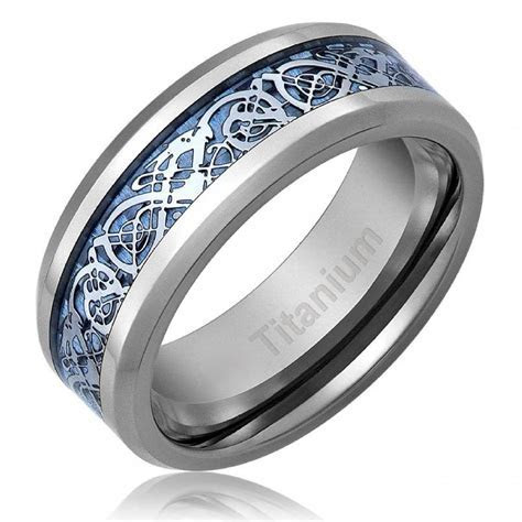 Men's Celtic Dragon Titanium Wedding Ring Engagement Band