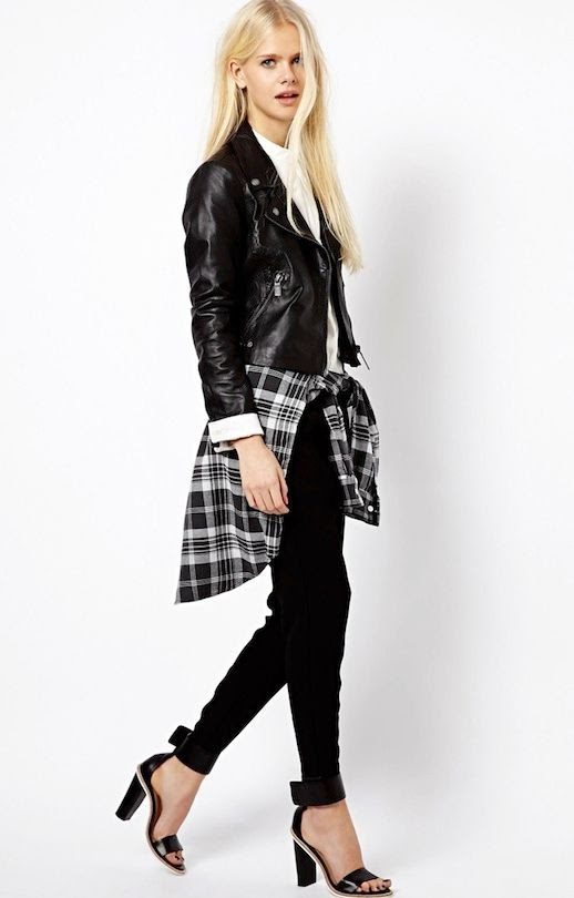 LE FASHION BLOG LEATHER AND PLAID MIX ESPRIT MOTO JACKET BLACK AND WHITE PLAID SHIRT TIED AROUND WAIST WHITE COLLARED BUTTON UP SHIRT SKINNY BLACK JEANS DENIM BLACK ANKLE STRAP HEELED SANDALS ASOS PICKS LONG BLONDE HAIR NATURAL BEAUTY PINK NAIL POLISH 1 photo LEFASHIONBLOGLEATHERANDPLAIDMIXESPRITMOTOJACKET1.jpeg