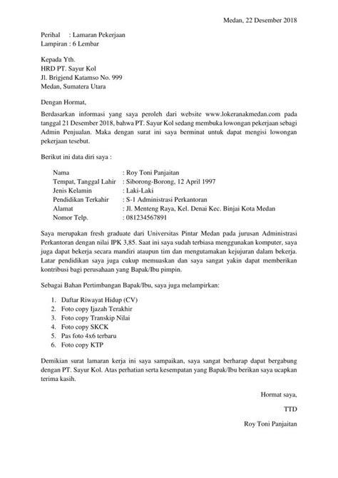 Contoh Surat Lamaran Kerja Admin J Amp T