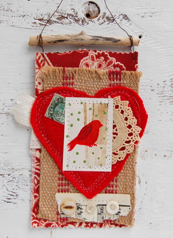 Valentine Mini Art Quilt Red Heart Vintage Lace Bird Burlap