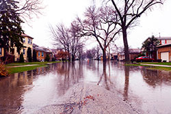 Flood evacuation route sign