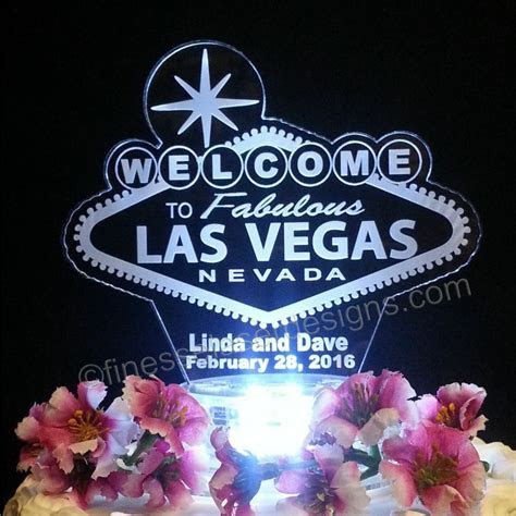 Las Vegas Sign Lighted Wedding Cake Topper Acrylic Poker