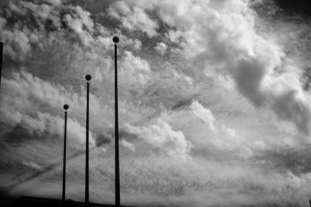 three flagpoles