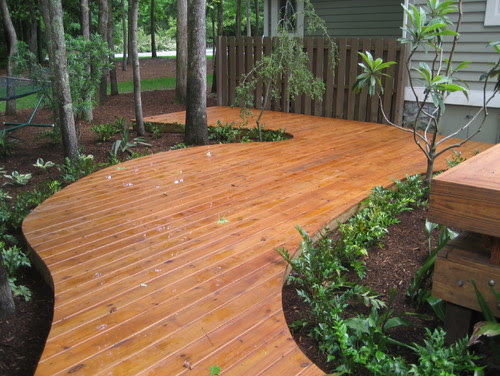 Curved Deck asian porch