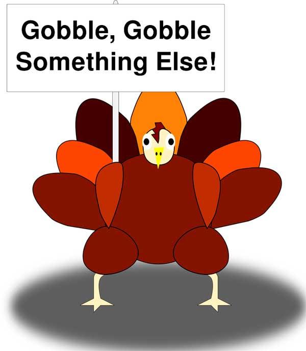 感恩節 火雞 thanksgiving turkey gobble 火雞的叫聲 咯咯叫 狼吞虎嚥 大口吞吃