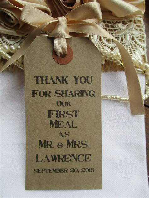 10 Rustic Wedding Table Place Setting Tag Napkin Tie