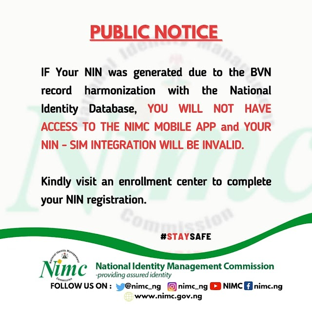 BVN-Generated NIN Not Useful - NIMC