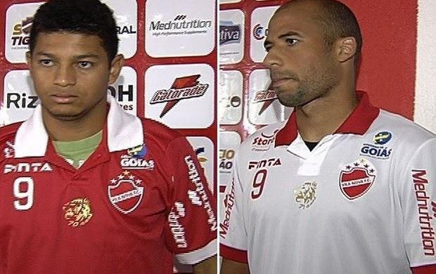 Felipe Alves e João Sales - atacantes Vila Nova (Foto: Reprodução / TV Anhanguera)