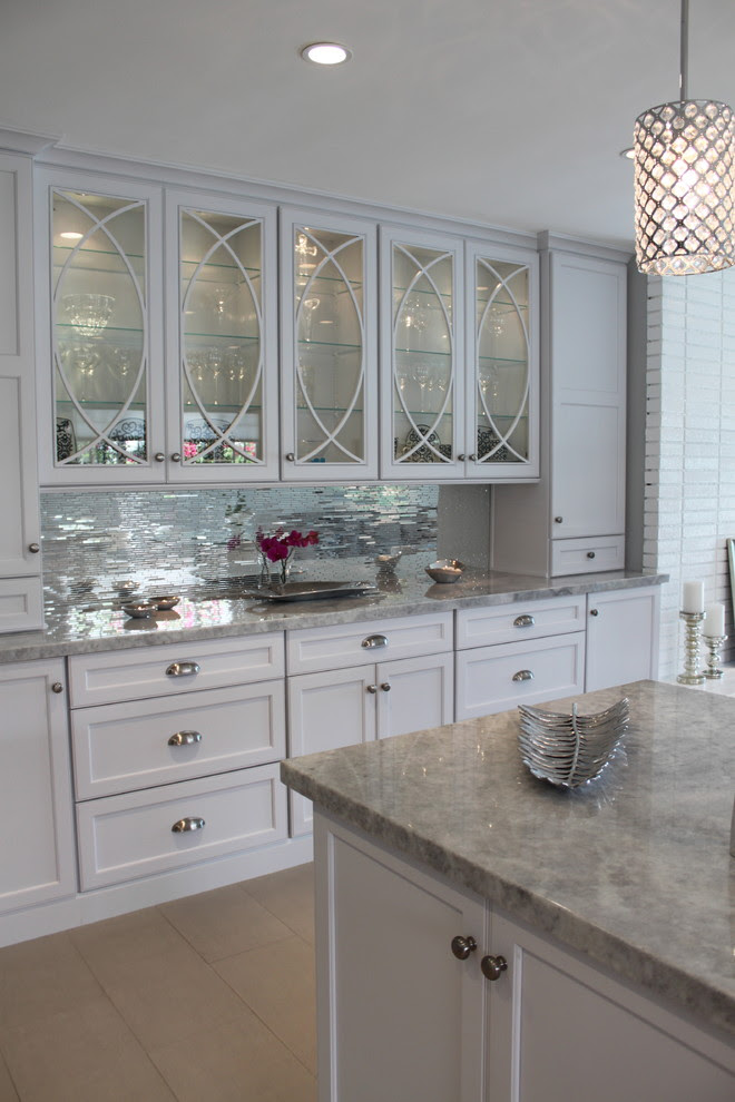 mirrored tiles backsplash kitchen white kim kardashian kris jenner style glamorous better deocrating bible blog home interior