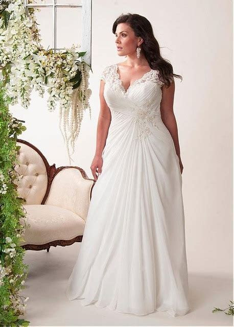 Informal Chiffon Beach Plus Size Wedding Dresses Long V