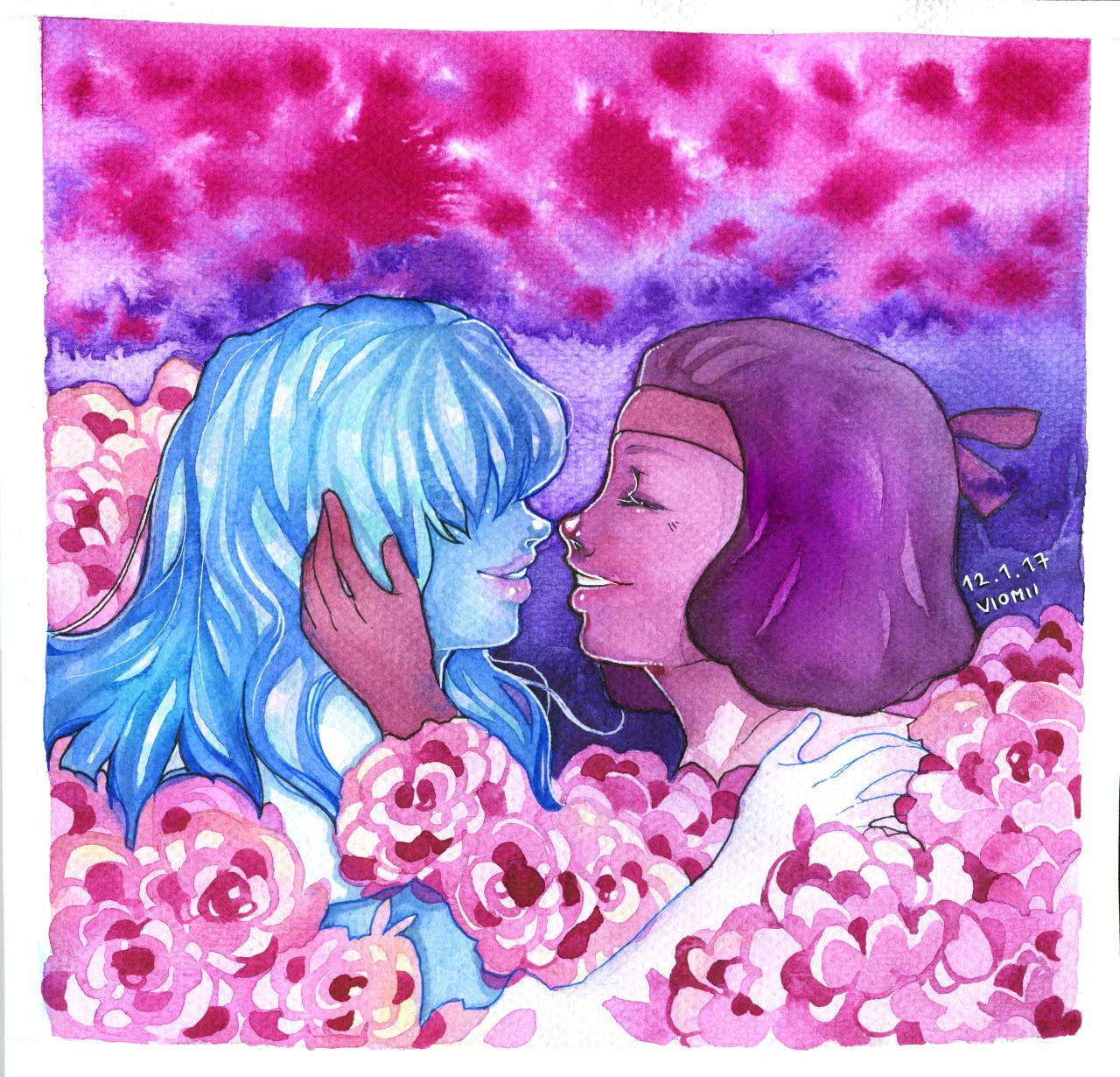 Lovers in the flowerfield. (Pose 2B)