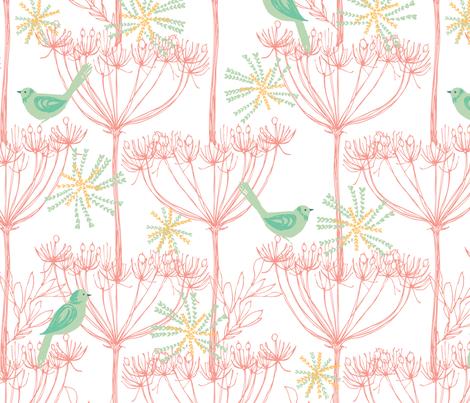 sketchy plants & birds - pink