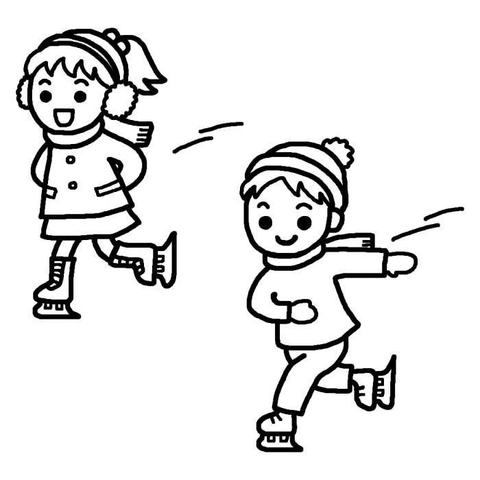 スケート白黒冬のスポーツの無料イラスト冬の季節素材 スケートの