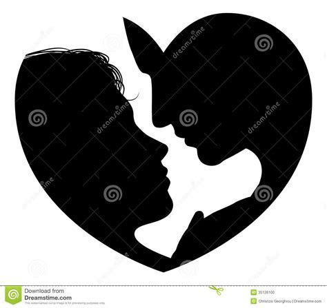 Couple Faces Heart Silhouette Stock Photo   Image: 35126100