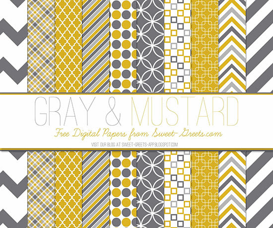 Gray and Mustard Papers Package
