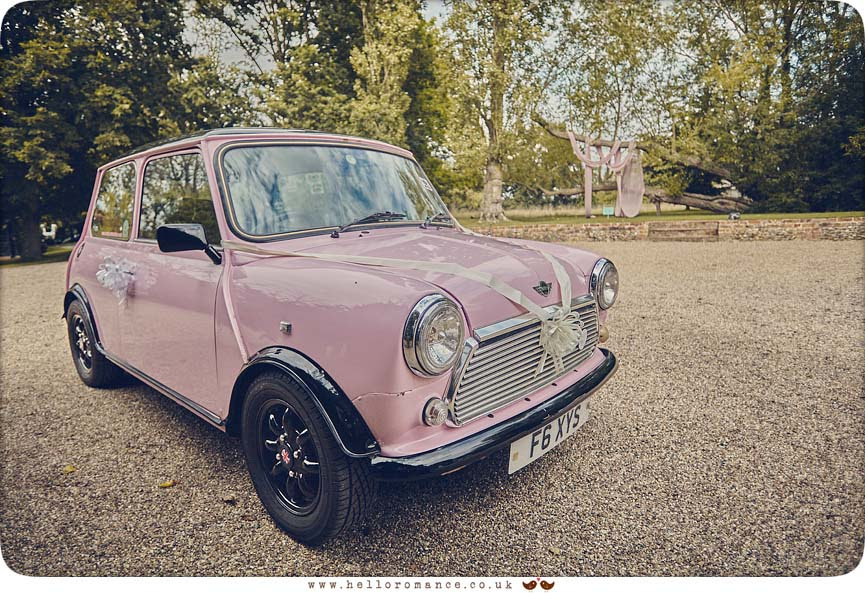 Wedding car cute pink Mini club - www.helloromance.co.uk