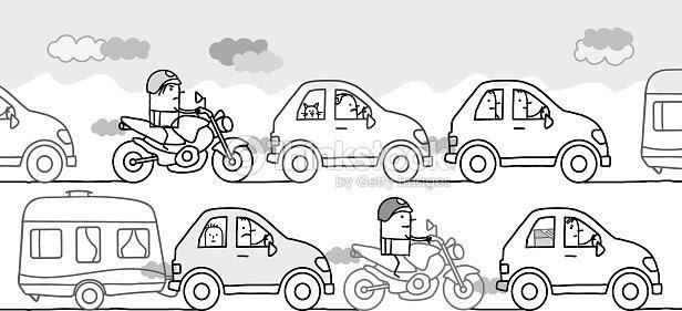 Dibujos Animados Personas En Una Contaminación Del Tráfico Mermelada