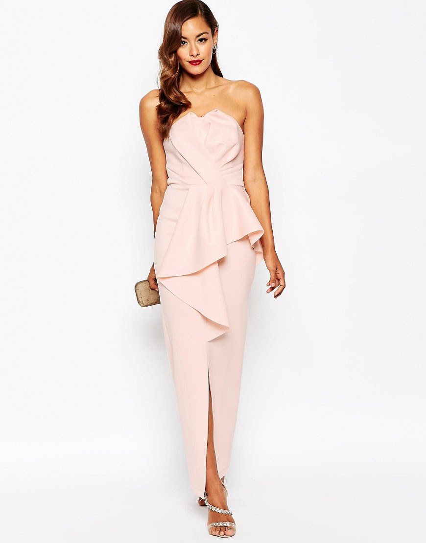 Image 1 of ASOS RED CARPET Scuba Bandeau Heavy Fold Peplum Maxi Dress