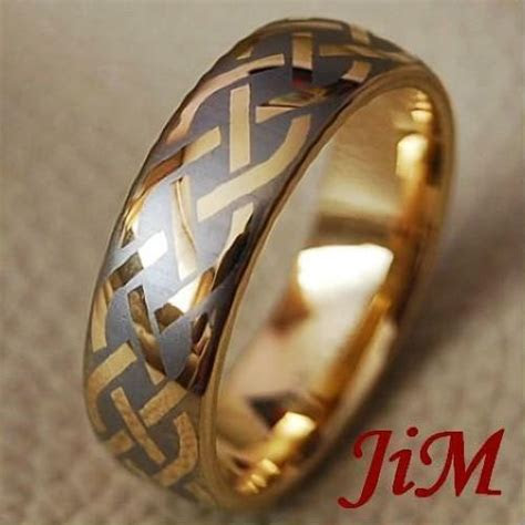 mens tungsten rings  gold womens wedding band celtic