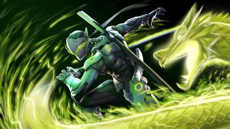 Genji dragon Overwatch Art ninja Wallpaper #553
