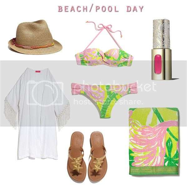 Lilly for Target lookbook preview, Lilly Pulitzer for Target bikini beach kimono outfit idea