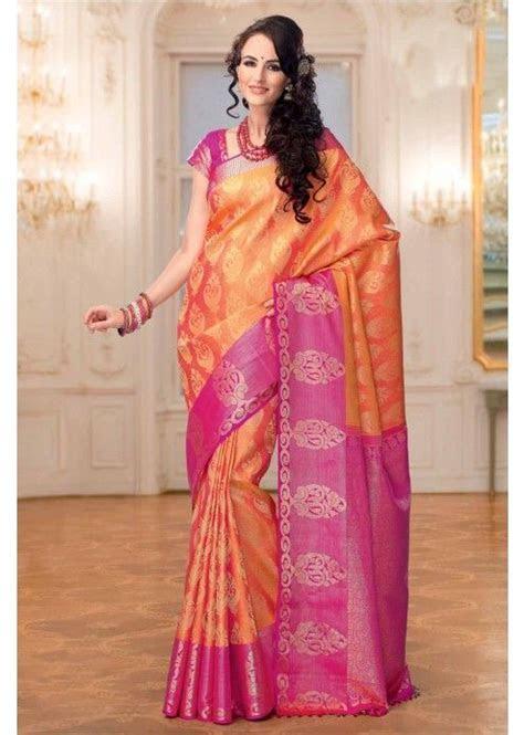 Orange Colour Kanchipuram Silk Saree with Zari Work