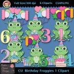 Birthday Froggies 1 Clipart - CU
