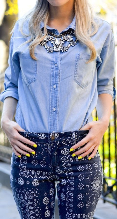 Old Navy Women Chambray Roll Sleeve Shirt by Katie's Bliss