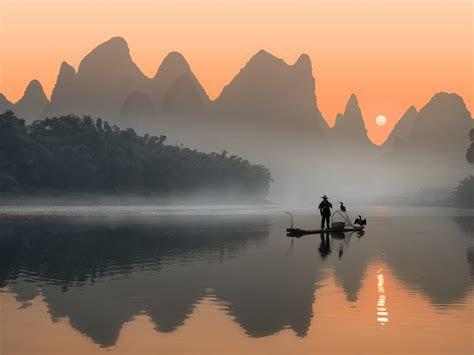 li river wonderful place  china sunset landscape