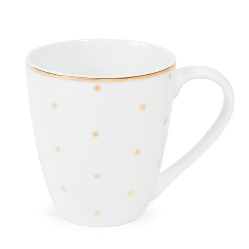 Mug en porcelaine blanc/pois dorés