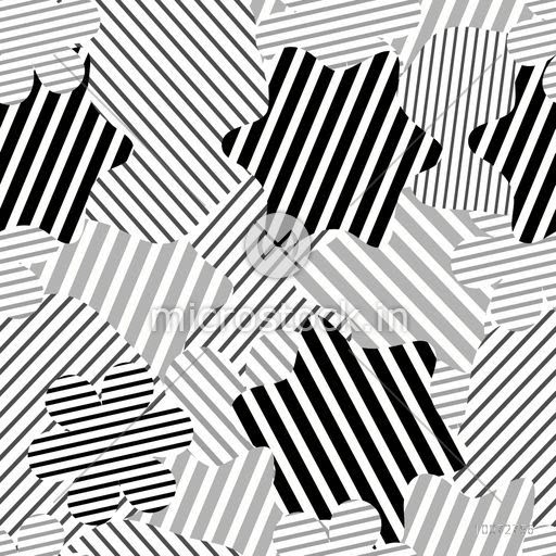 Creative Stars Decorated Abstract Pattern Design In Black White And